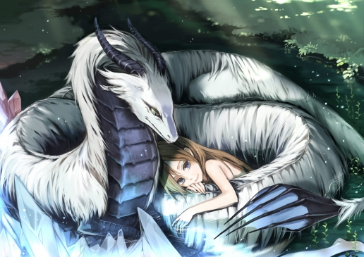 Sleeping Girl with White Dragon HQ