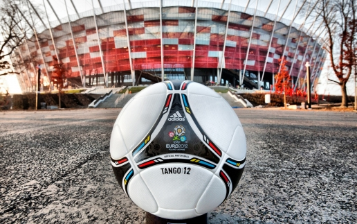 Adidas Ball Euro 2012 Logo anf Polish Stadium