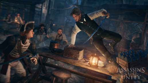 Attack in the Bar Assassins Creed Unity